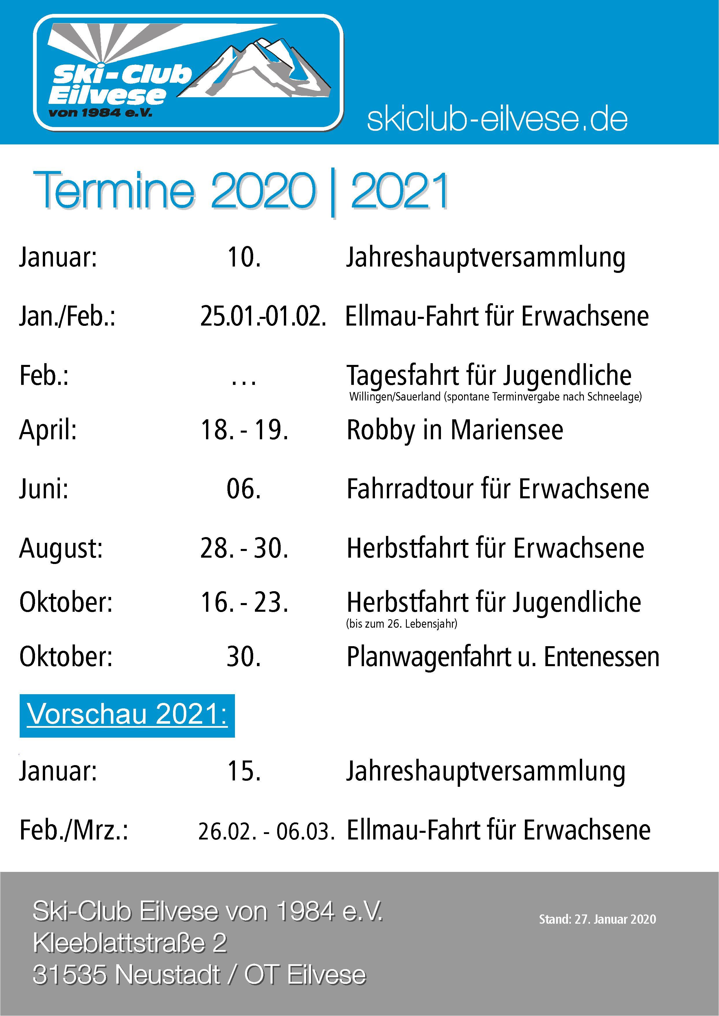 SKiClubEilvese Termine 2020|2021