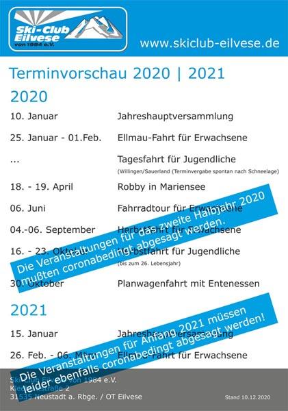 Absage Jahreshauptversammlung und Elmaufahrt 2021